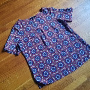 Evan Picone patterned short sleeve blouse